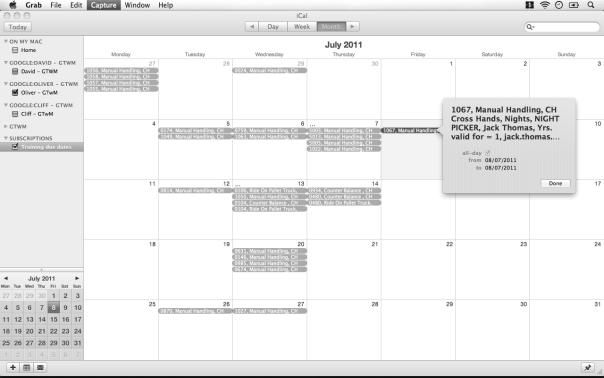 Screenshot of training calendar