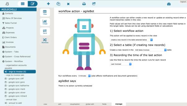 Screenshot of workflow action